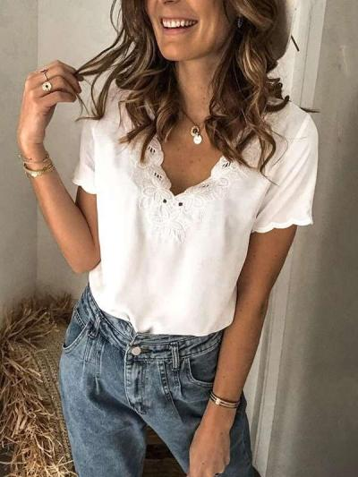 Fashion Pure Lace V neck Short sleeve T-Shirts