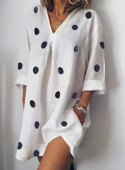 Casual Loose V neck Point Print Long sleeve Shift Dresses