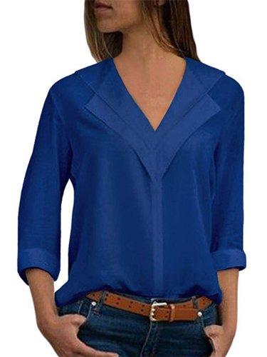 Solid Chiffon Casual Shawl Collar Blouse