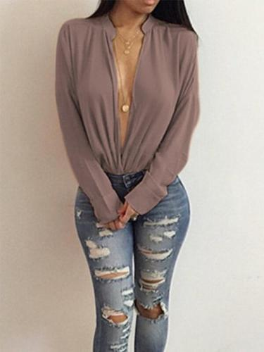 Stand up collar Long Sleeve Women Casual Loose Plain Blouse
