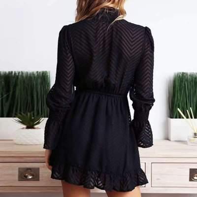 Fashion High collar Lacing Long sleeve Skater Dresses
