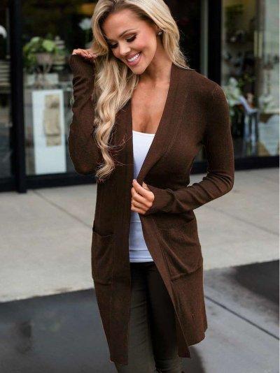 Fashion Pure Long sleeve Pocket Cardigan