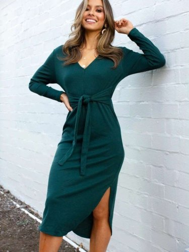 Fashion Long sleeve Lacing Vent V neck Skater Dresses