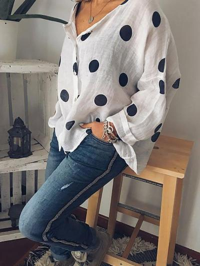 Printed polka dot v-neck long sleeves button blouses