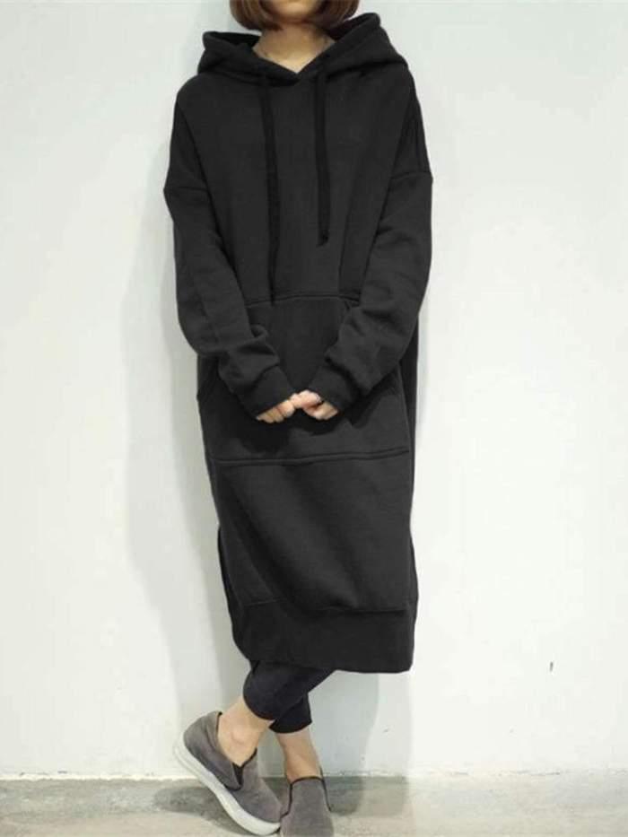 Fashion Casual Pure Long sleeve Hoodies Sweatshirts Maxi Dresses