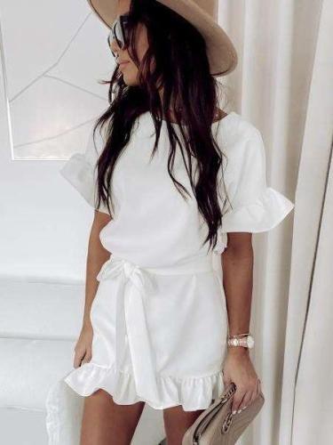 Fashion Pure Round neck Short sleeve Falbala Lacing Skater Dresses