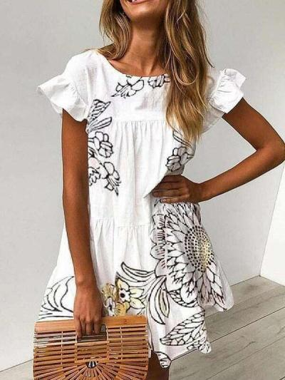 Casual Print Round neck Short sleeve Falbala Shift Dresses