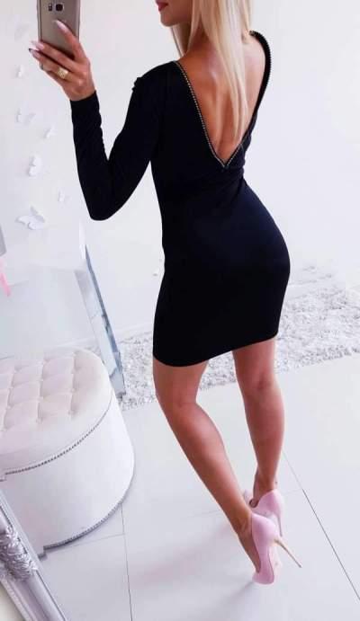 Sexy Pure Zipper V neck Long sleeve  Bodycon Dresses