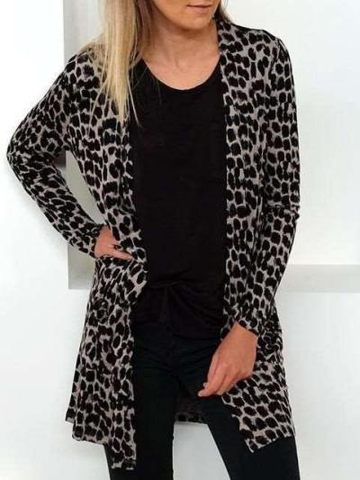 Fashion Leopard print Long sleeve Cardigan Coats