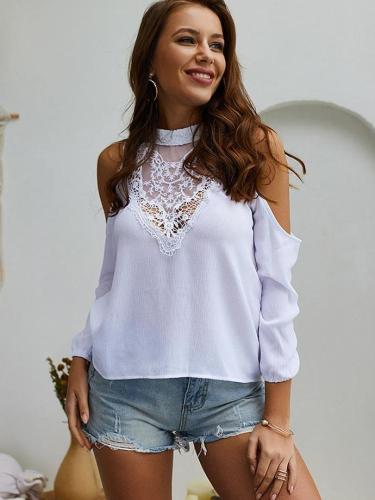 Sexy Lace Patchwork Off shoulder T-Shirts