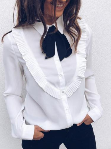 Fashion lapel white long sleeve Blouse