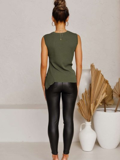 Fashion Pure Round neck Sleeveless Lacing T-Shirts