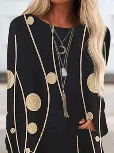 Stylish Printed long sleeve round neck T-shirts