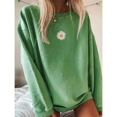 Casual Loose Print Round neck Long sleeve Plus T-Shirts