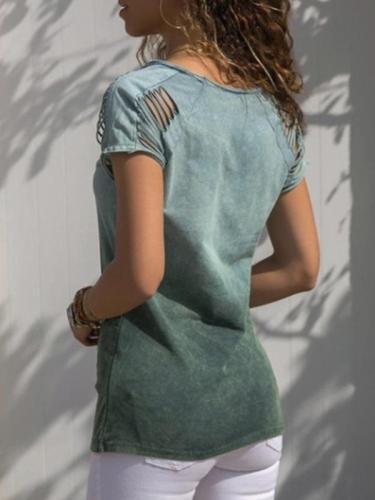 Pure cotton short sleeve gradient ramp high quality T-shirt