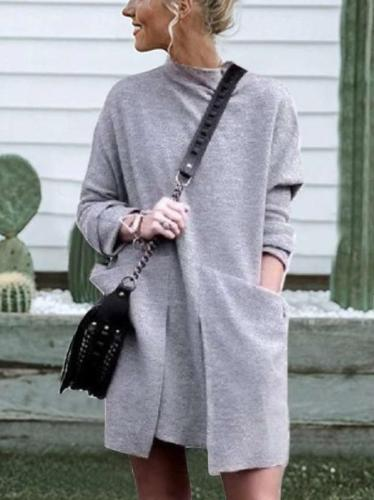 Fashion Pure Round neck Long sleeve Pocket Shift Dresses