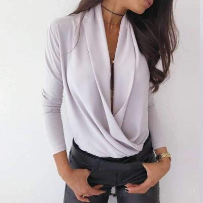 Sexy Long sleeve V neck Pure Blouses
