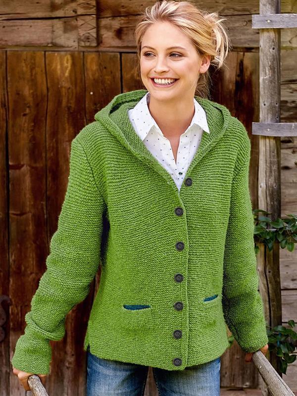 Hooded pocket long sleeve plain button sweater coats