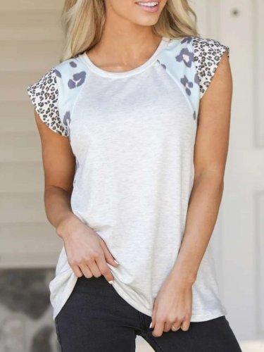 Fashion Round neck Gored print Short sleeve T-Shirts