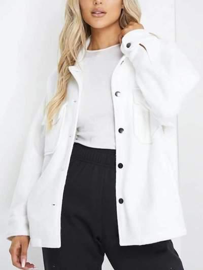 Chic plain turn down neck long sleeve pocket loose coats