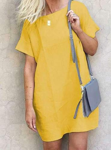 Casual Loose Pure Round neck Short sleeve Shift Dresses
