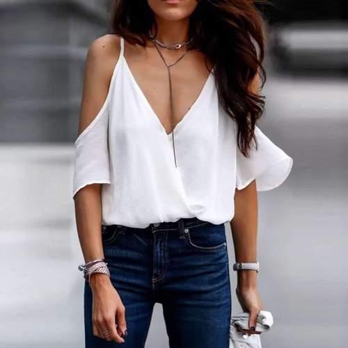 Fashion Backless V neck Pure Vests