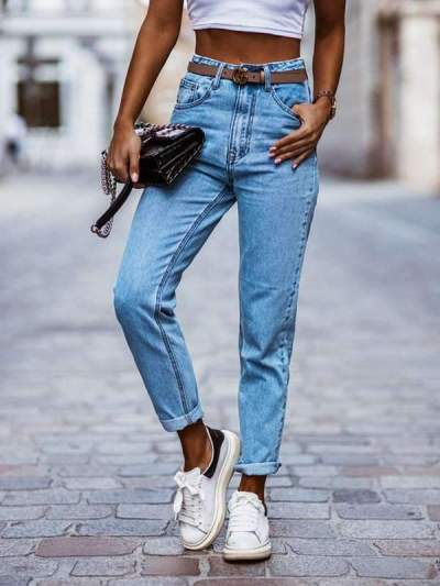 Casual slim trousers small feet pencil women's jeans long pants