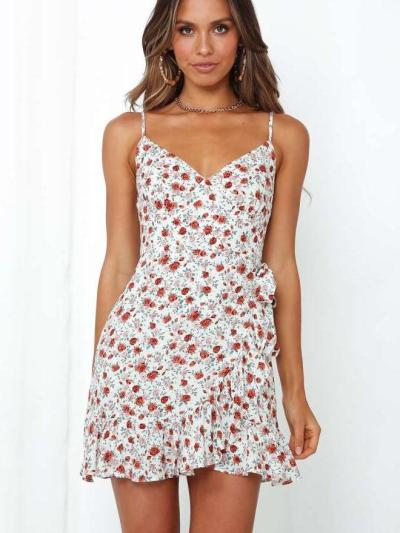 Fashion Print V neck Vest Skater Dresses