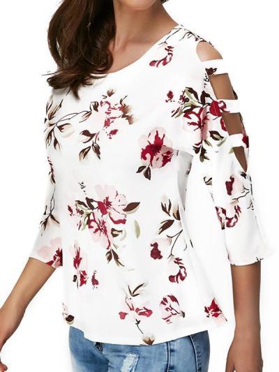 Fashion casual floral print long sleeve T-shirts