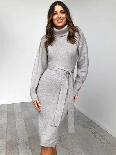 Sexy High collar Pure Lacing Long sleeve Bodycon Dresses