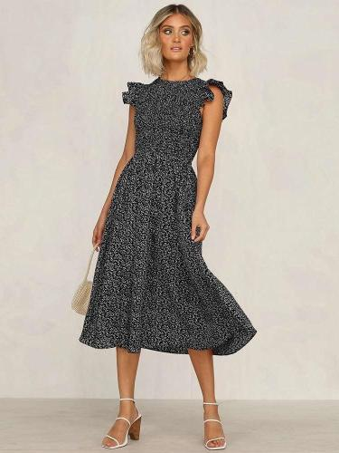 Fashion Print Round neck Sleeveless Falbala Skater Dresses