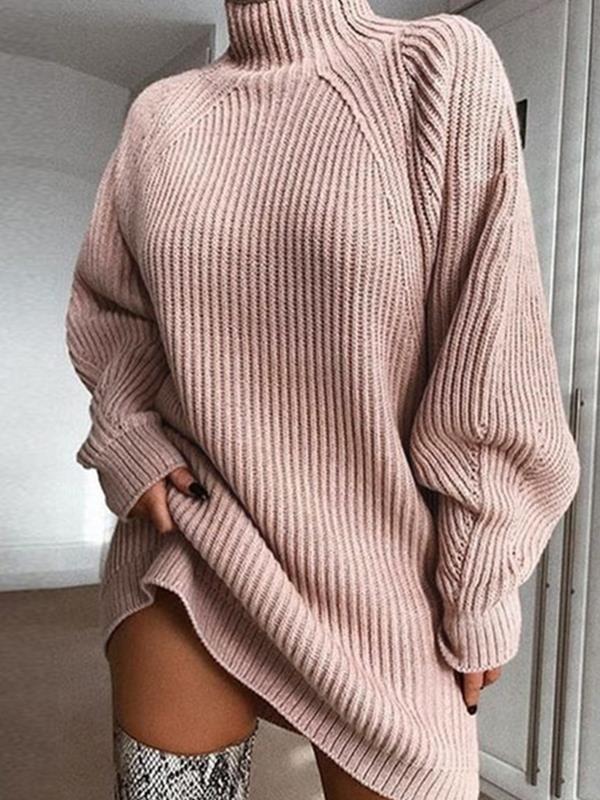 Warm Fashion High Neck Women long Shift Sweater Dresses