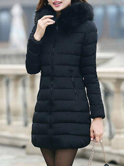 Fur Collar Hoodie Long Winter Coat