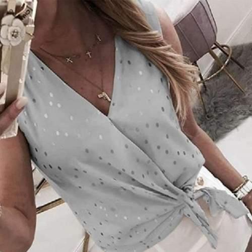 Fashion V neck Point print Sleeveless Blouses