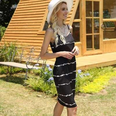 Fashion Casual Shripe V neck Vest Shift Dresses
