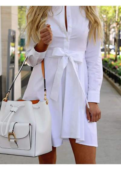 Fashion Lapel Long sleeve Lacing Skirt Skater Dresses