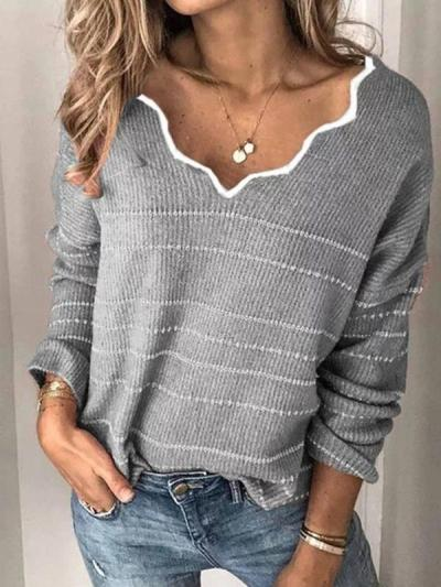 Loose v neck women chic sweaters