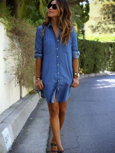 Fashion Jean Plus Long sleeve Blouses