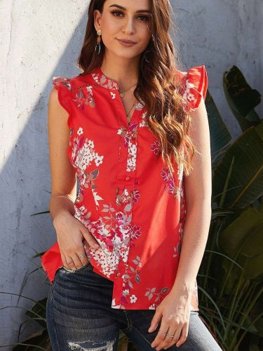 Fashion Casual Print V neck Sleeveless Blouses