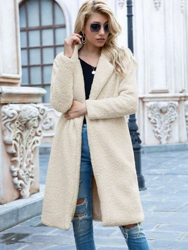 Fashion Pure Plush Lapel Long sleeve Coats