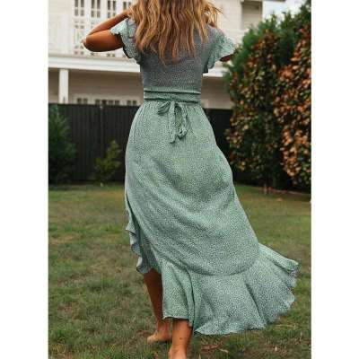 Fashion Casual V neck Print Lacing Falbala Skater Dresses
