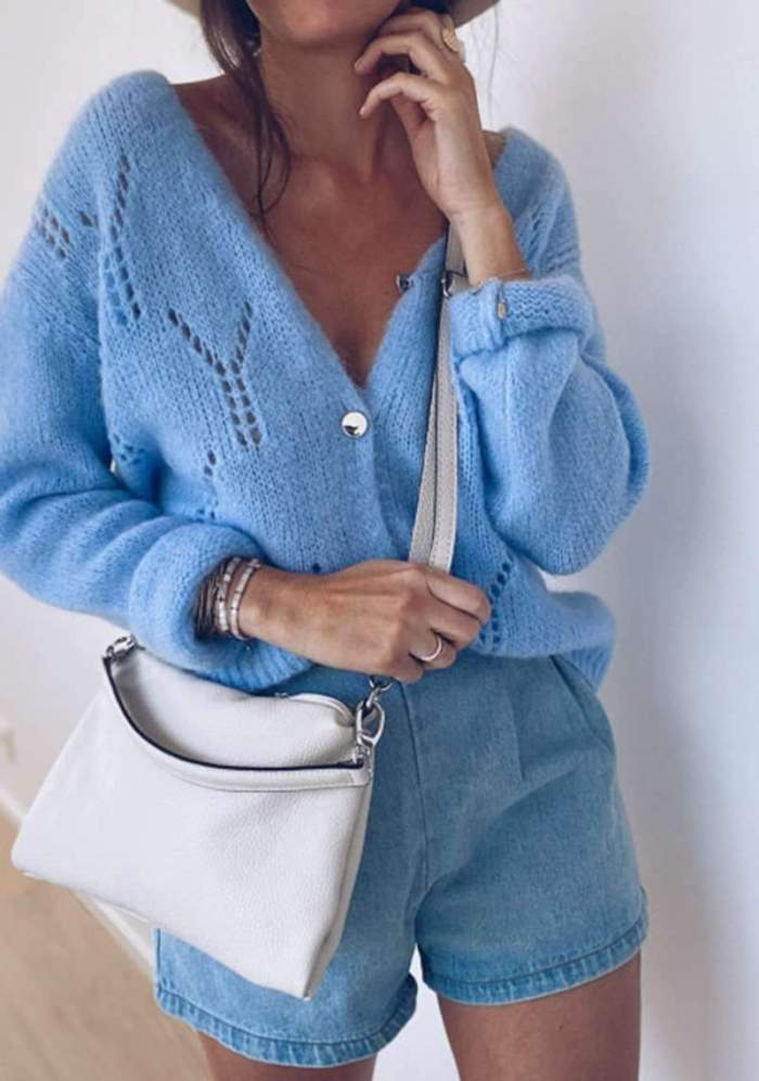 Fashion Casual Pure V neck Long sleeve Hollow out Knit Cardigan Sweaters