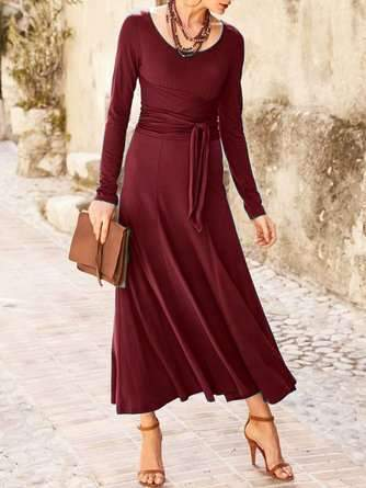 Fashion Pure Round neck Long sleeve Tee Lacing Maxi Dresses