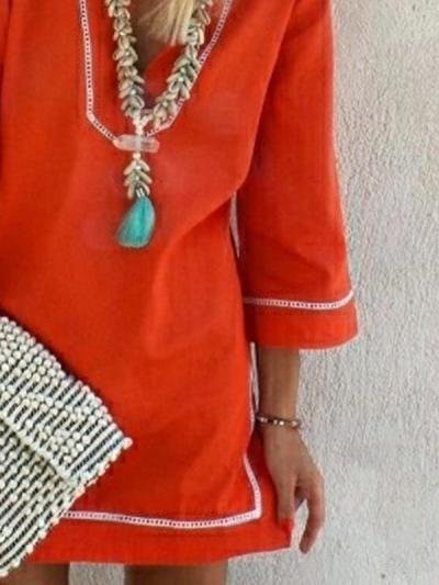 Plain plus-size loose v-neck chiffon shift dresses