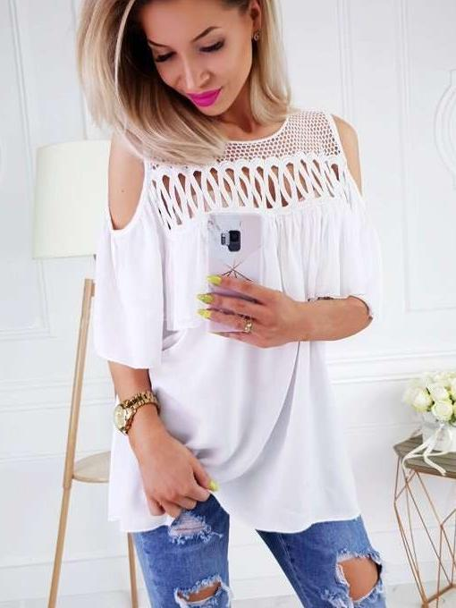 Fashion Grenadine Cutout Falbala Off shoulder T-Shirts