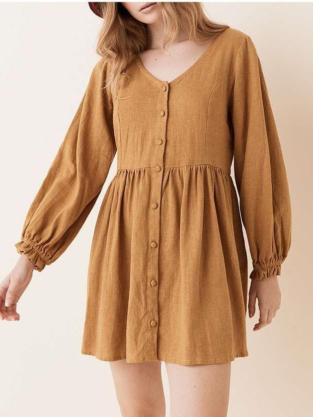 Fashion Loose Pure Fastener V neck Long sleeve Shift Dresses