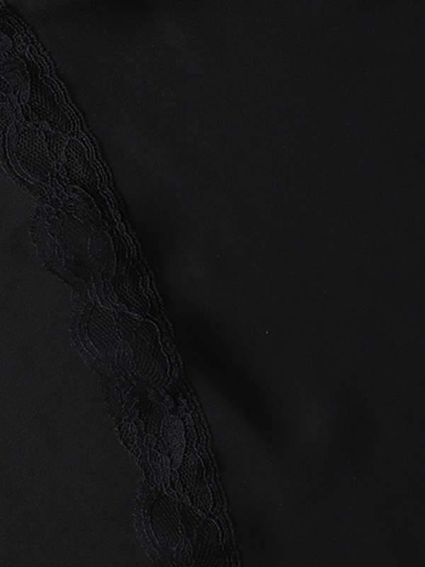 Plain sexy v-neck lace short sleeve T-shirt