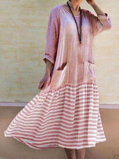 Casual Gored Stripe Round neck Long sleeve Pocket Maxi Dresses