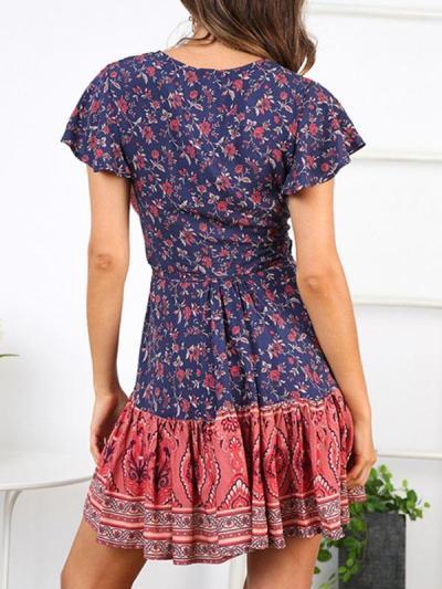 Sexy v-neck dress printed color skater dresses