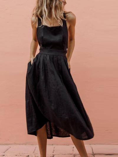 Sexy button backless Plain Women Skater Dresses